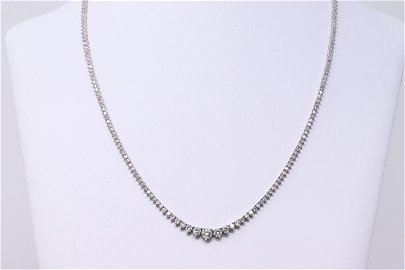 8 Carat Diamonds Ladies Tennis Necklace 14k White Gold