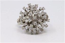 Estate  Vintage Diamond 14K White Gold Cluster Cocktail
