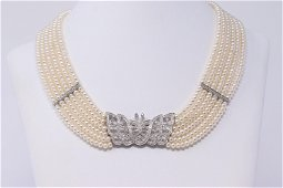 ART DECO 6 Strand Pearls with 18K white Gold Butterfly