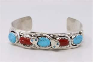 Native American Zuni Handmade Sterling Silver Coral