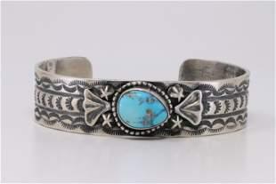 Native America Navajo Handmade Sterling Silver Blue