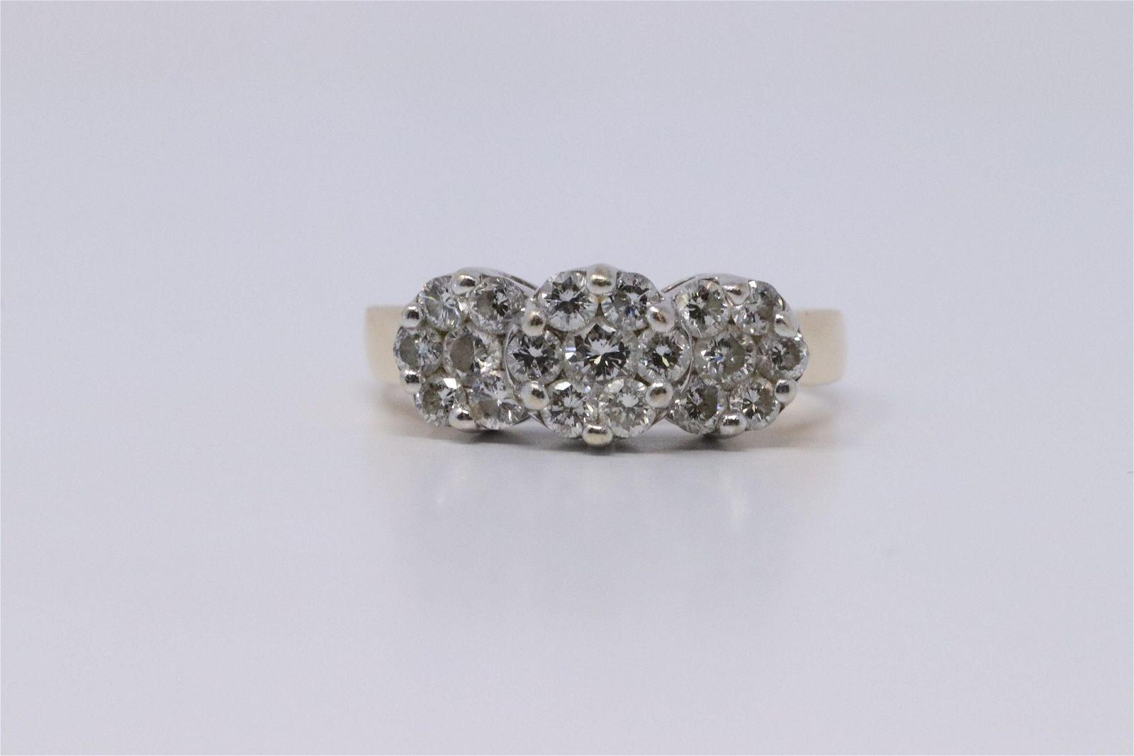 Ladies 14K Gold Diamond Cluster Halo Ring