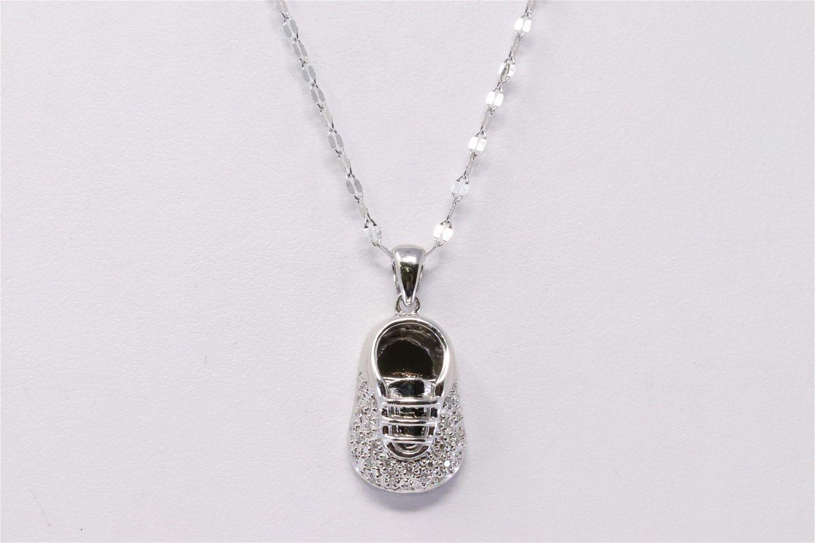 14kt White Gold Diamond Shoe Pendant & Necklace.