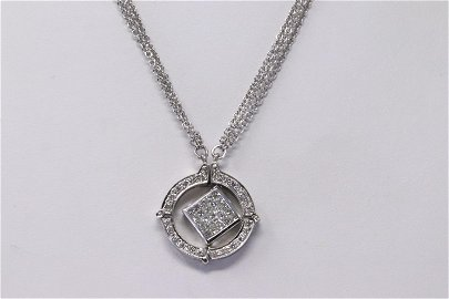 18Kt Double Strand Diamond Pendant