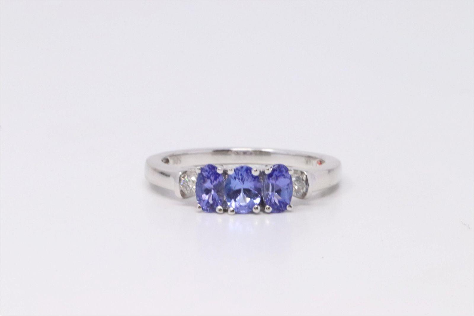 14Kt White Gold Tanzanite Diamond Ring.
