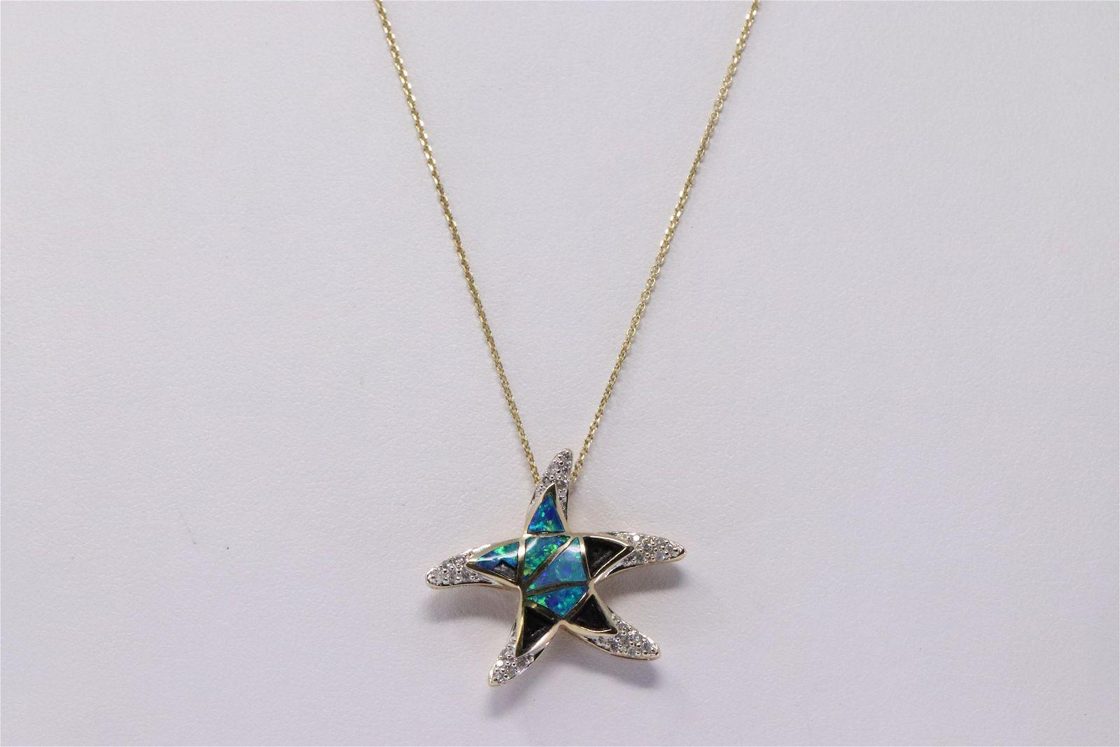 14Kt Yellow Gold Opal Diamond Star Fish Pendant.
