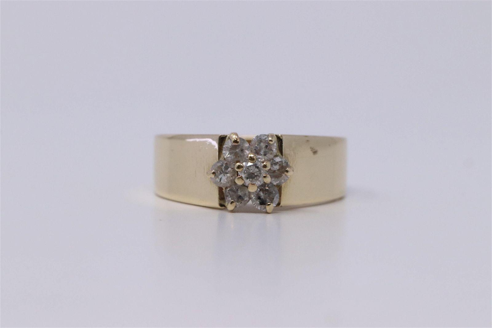 14K Ladies Diamond Cluster Ring