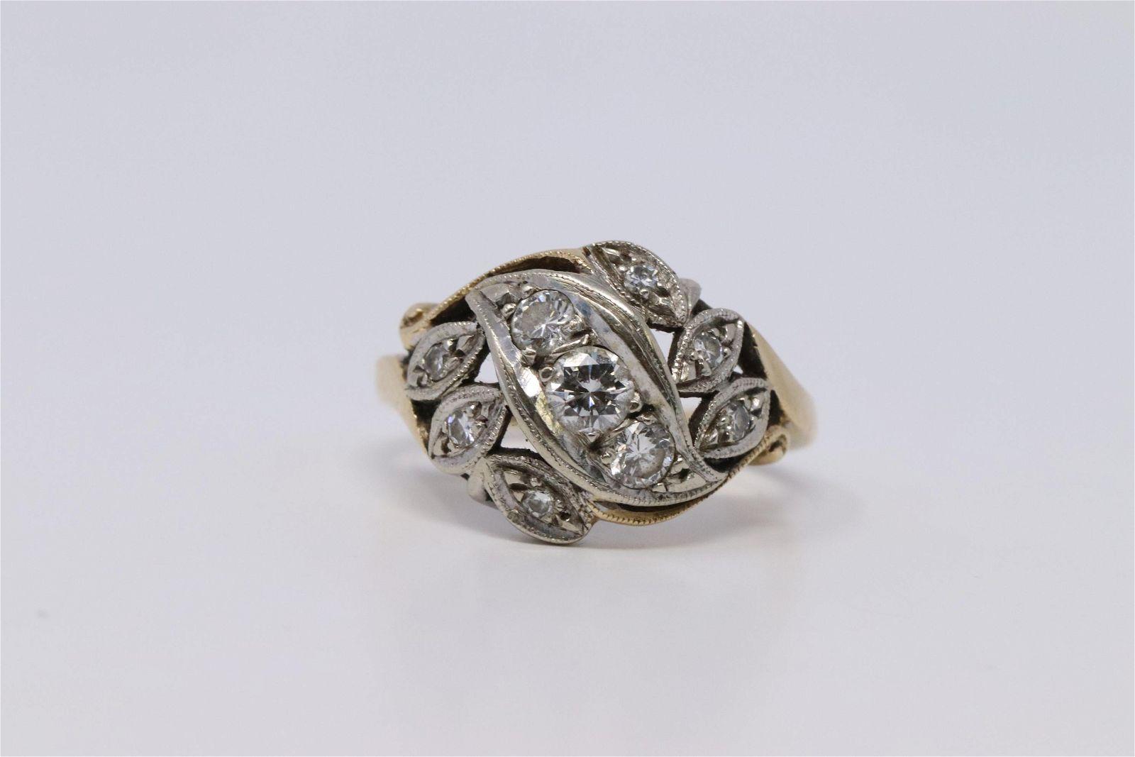 Vintage Ladies Ring 14K Gold & Diamonds