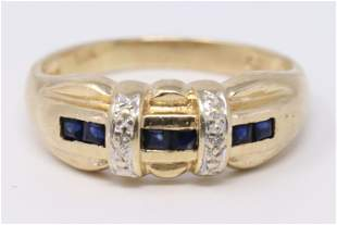14Kt Dimaond   Sapphire Ring