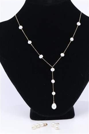 14KT Pearl Necklace   Earrings Set