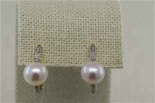 14K Diamond Earrings w/ Pearl