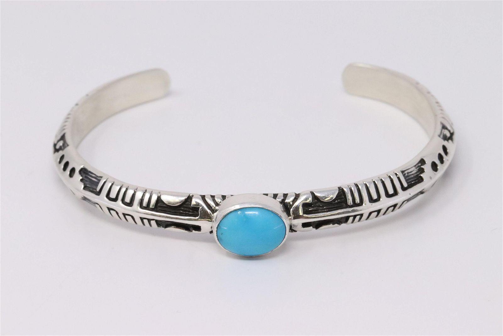 Native American Handmade Sterling Silver Navajo Golden