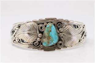 Native America Navajo Sterling Silver Turquoise Leave