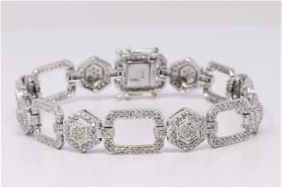 14kt White Gold Diamond Bracelet.