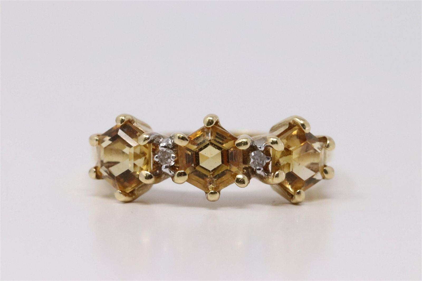 14Kt Yellow Gold Citrine Diamond Ring.