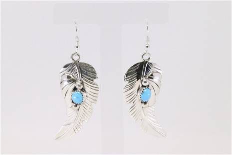 Native America Navajo Sterling Silver Turquoise Leaves