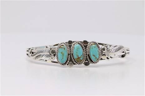 Native America Navajo Handmade Sterling Silver Feather