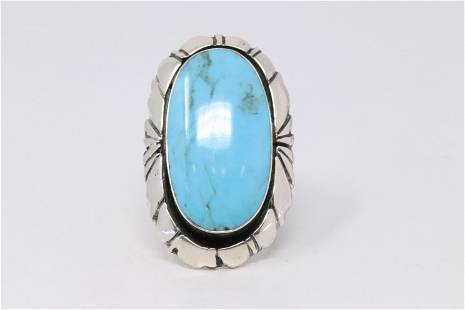 Native America Navajo Sterling Silver Turquoise Ring By