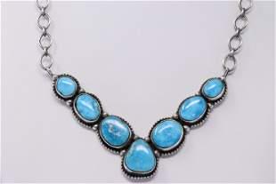 Native American Navajo Handmade Sterling Silver Blue