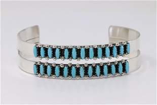 Native America Zuni Sterling Silver Turquoise Bracelet