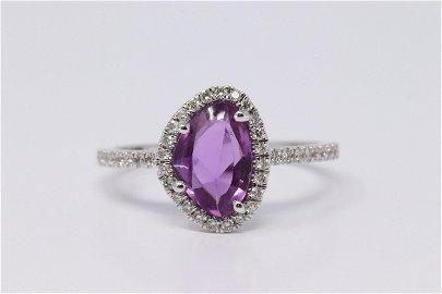 14Kt White Gold Pink Sapphire & Diamond Ring.