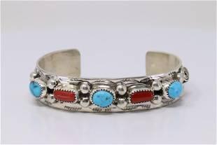 Native America Navajo Handmade Sterling Silver Coral