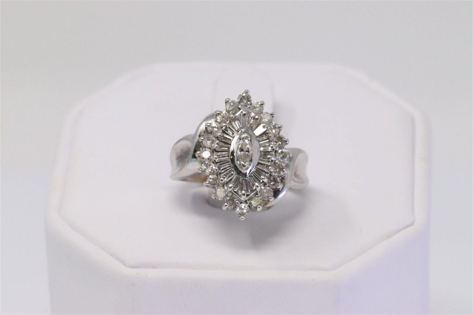 Vintage 14K White Gold Diamond Cocktail Ladies Ring