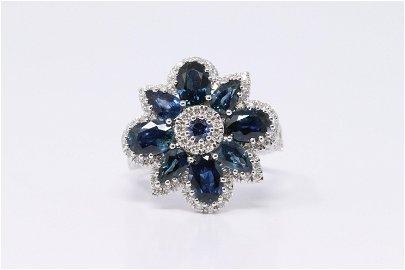 14Kt Diamond | Blue Sapphire Lady's Ring