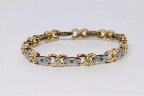 14Kt Two Tone Gold Diamond & Emerald Bracelet.