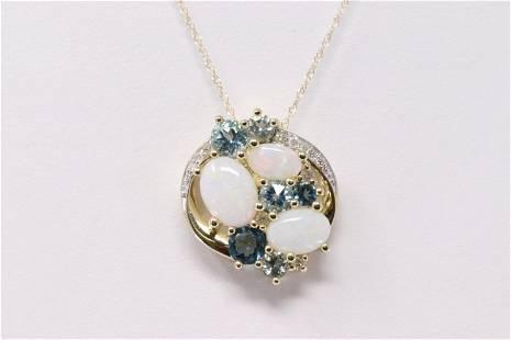 Ladies Diamond/Opal/Blue Topaz Pendant
