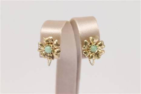 14Kt Yellow Gold Vintage Jade Flower Earring's.