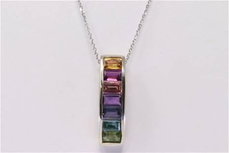 14KT Multi-color Pendant necklace