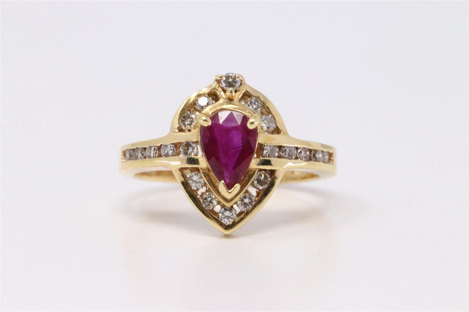 14Kt Yellow Gold Ruby Diamond Ring.