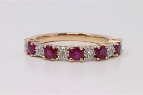 14Kt Rose Gold Diamonds/Ruby's Ring