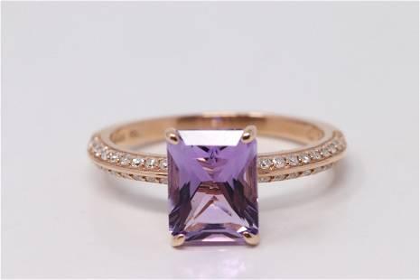 14Kt Rose Gold Amethyst Diamond Ring.