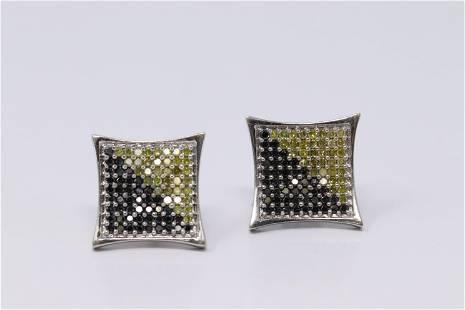 14Kt White Gold Stud Square Diamond Earring's.