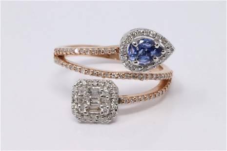 14Kt Rose Gold Diamonds/Sapphire Ring.