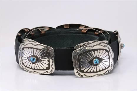 Native American Navajo Handmade Sterling Silver Leather