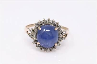 Vintage 14Kt Rose Gold Star Sapphire / Diamond Ring.