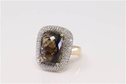 14kt Yellow Gold Smoky Topaz / Diamond Ring.