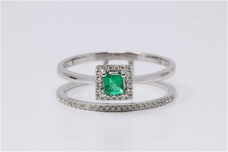18Kt White Gold Emerald   Diamond Ring.