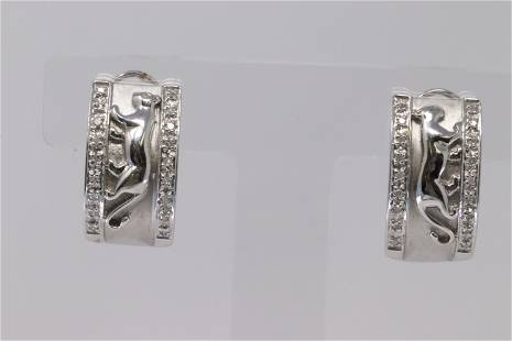 14K White Gold Panther Design Earrings with Diamond