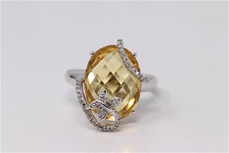 14Kt White Gold Citrine Diamond Ring.