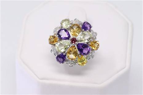 14K White Gold Cocktail Ring with Multicolor stones and