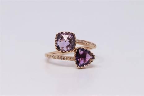 14Kt Rose Gold Amethyst & Diamond Ring.