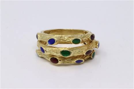 18Kt Yellow Gold Multi-Color Ring