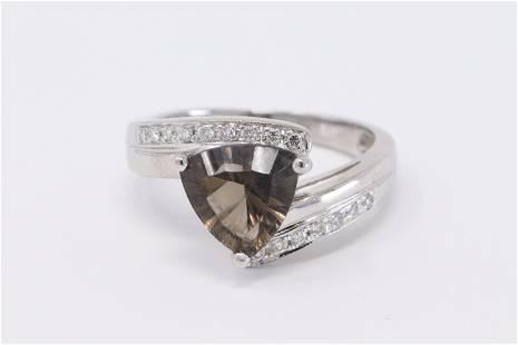 14KT Diamond ring w/ Brown Citrine