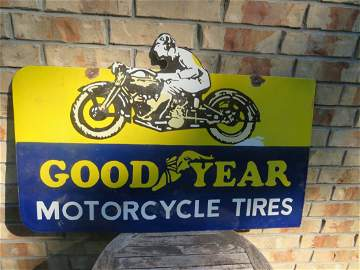 Vintage Porcelain Goodyear Motorcycle Sign