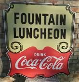 Vintage Porcelain Coca Cola Luncheon Sign
