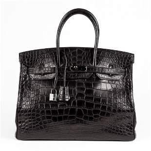 """Hermes Birkin 35 """"So Black"""" Matte Alligator with Black"""